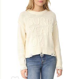 "WILDFOX cream ""sure,yeah,ok"" distressed sweater M"